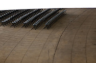 Rows of empty chairs at the Charlottesville Pavilion outdoor music venue.