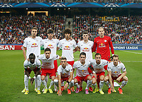 AUSTRIA,19.AUG.14 - SOCCER - UEFA Champions League, play off, Red Bull Salzburg vs Malmø FF. Image shows the team of RBS with Stefan Ilsanker, Franz Schiemer, Andre Ramalho, Marcel Sabitzer, Peter Gulacsi (back); Sadio Mane, Christoph Leitgeb, Kevin Kampl, Jonatan Soriano, Andreas Ulmer and Christian Schwegler (RBS/ front).<br /> lagbilde  , team picture<br /> Norway only