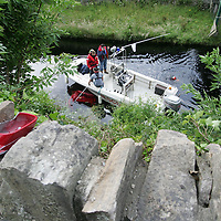 The four occupants of the Honda Prelude car all survived after the car valted this wall and ended up in the Canal that runs along side the Shannon in Killaloe County Clare. Pic Sean Curtin Press 22.<br /> <br /> STORY BY PAT FLYNN  0862515101