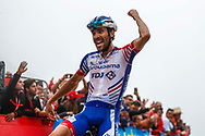 Thibaut Pinot (FRA, Groupama FDJ) celebrating his stage victory during the 73th Edition of the 2018 Tour of Spain, Vuelta Espana 2018, Stage 15 cycling race, 15th stage Ribera de Arriba - Lagos de Covadonga 178,2 km on September 9, 2018 in Spain - Photo Luis Angel Gomez/ BettiniPhoto / ProSportsImages / DPPI