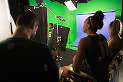 April 2, 2016; Indianapolis, Ind.; Keiahnna Engel reads lines during their green screen session at the NCAA Headquarters.