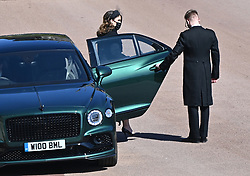 Princess Eugenie arriving outside St George's Chapel, Windsor Castle, Berkshire, ahead of the funeral of the Duke of Edinburgh. Picture date: Saturday April 17, 2021.