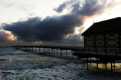 © Licensed to London News Pictures. 24/04/16<br /> Saltburn by the Sea, UK. <br /> <br /> Storm clouds can be seen off the coast at Saltburn by the Sea. Temperatures dropped over the weekend as cold air blew down from the arctic.<br /> <br /> Photo credit : Ian Forsyth/LNP