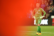 Kasper Schmeichel, the Leicester city goalkeeper looks on after Swansea city score their 1st goalBarclays Premier league match, Swansea city v Leicester city at the Liberty stadium in Swansea, South Wales on Saturday 25th October 2014<br /> pic by Andrew Orchard, Andrew Orchard sports photography.