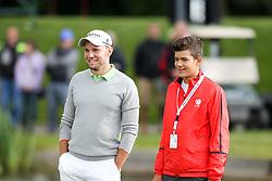23.06.2015, Golfclub München Eichenried, Muenchen, GER, BMW International Golf Open, Show Event, im Bild links Maximilian Kieffer (GER) mit einem Nachwuchs Golfer // during the Show Event of BMW International Golf Open at the Golfclub München Eichenried in Muenchen, Germany on 2015/06/23. EXPA Pictures © 2015, PhotoCredit: EXPA/ Eibner-Pressefoto/ Kolbert<br /> <br /> *****ATTENTION - OUT of GER*****