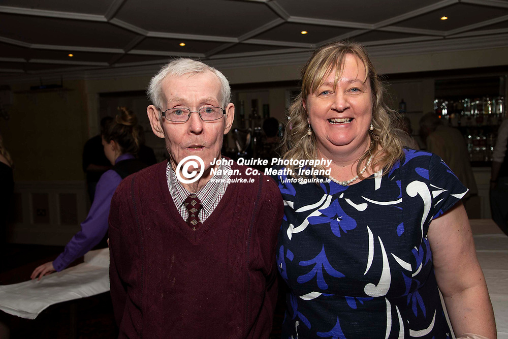27/10/2019, Bohermeen Athletic Club 50th Anniversary celebration at the Ardboyne Hotel, Navan.<br /> Tina Ball with her dad Barney Thornton<br /> Photo: David Mullen / www.quirke.ie ©John Quirke Photography, Unit 17, Blackcastle Shopping Cte. Navan. Co. Meath. 046-9079044 / 087-2579454.<br /> ISO: 400; Shutter: 1/200; Aperture: 6.3; <br /> File Size: 2.6MB