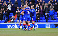 Aaron Amadi-Holloway goal celebrations 1-0 during the Sky Bet League 1 match between Oldham Athletic and Rochdale at Boundary Park, Oldham, England on 19 March 2016. Photo by Daniel Youngs.