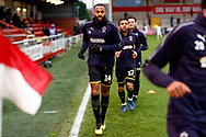 Wimbledon midfielder Liam Trotter (14) warming up  during the The FA Cup 3rd round match between Fleetwood Town and AFC Wimbledon at the Highbury Stadium, Fleetwood, England on 5 January 2019.