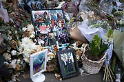 Memorial to the London Bridge terror attack of November 2019 on 7th January 2020 in London, England, United Kingdom. Floral tributes to those who lost their lives were placed at the foor of Monument in remembrance, alongside photos.