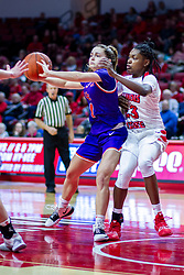 NORMAL, IL - January 05: Anna Newman passes off when defended by Juliunn Redmond during a college women's basketball game between the ISU Redbirds and the Purple Aces of University of Evansville January 05 2020 at Redbird Arena in Normal, IL. (Photo by Alan Look)