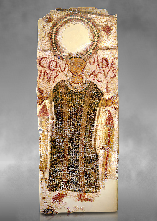 """5th century Eastern Roman Byzantine  funerary mosaic from Tarbaka in the Roman province of Africa Proconsularis , present day Tunisia, with a crown at the top probably a Christogram  (Latin Monogramma Christi ) is a monogram used as an abbreviation for the name of Jesus Christ, with a figure below and a latin text for the deceased """" Covuldeus in peace"""". Either side of the figure are a lit candle which symbolises eternal faith. The Bardo National Museum, Tunis Tunisia. Against a grey art background.<br /> <br /> Christian burial grounds The ingenuity and expertise of mosaic schools, particularly those operating in Proconsular Africa and By-zacena, led to the dissemination of a mosaic trend which was very well tailored to the needs of a Christian clientele, who was authorised by the Church to use the basilica area and its ancillaries for burial, particularly in the sacred spaces such as the baptistery and the choir."""