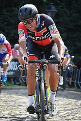 August 19, 2018 - Geraardsbergen, BELGIUM - Belgian Greg Van Avermaet of BMC Racing Team pictured in action at the Muur Kapelmuur during the final stage of the Binkcbank Tour cycling race, 209,5 km from Lacs de l'Eau d'Heure to Geraardsbergen, Belgium, Sunday 19 August 2018. BELGA PHOTO DAVID STOCKMAN (Credit Image: © David Stockman/Belga via ZUMA Press)