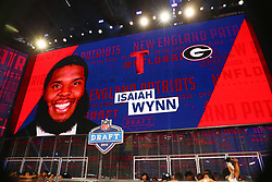 April 26, 2018 - Arlington, TX, U.S. - ARLINGTON, TX - APRIL 26:  Isaiah Wynn on the video board after being chosen by the New England Patriots with the 23rd pick during the first round at the 2018 NFL Draft at AT&T Statium on April 26, 2018 at AT&T Stadium in Arlington Texas.  (Photo by Rich Graessle/Icon Sportswire) (Credit Image: © Rich Graessle/Icon SMI via ZUMA Press)