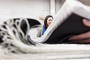 Lyon, Atelier Hermès, silk atelier at Pierre-Benite, controllo qualità della stampa, print quality check