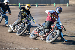 """Go Takamine just ahead of Toshiyuki """"Cheetah"""" Osawa, both who swapped bikes over and over to get back into the thick of it at Go's Brat Style's flat track racing at West Point Offroad Village. Kawagoe, Saitama. Japan. Wednesday December 6, 2017. Photography ©2017 Michael Lichter."""