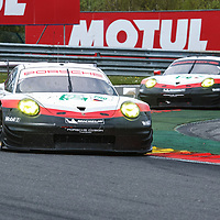 #92, Porsche Motorsport, Porsche 911 RSR (2017), driven by Michael Christensen, Kevin Estre #91 driven by Richard Lietz, Frederic Makowiecki (at the back)n at WEC 6 Hours of Spa-Francorchamps 2017, Spa-Francorchamps race circuit, on 04.05.2017