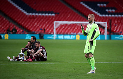 Leicester City goalkeeper Kasper Schmeichel reacts after the Emirates FA Cup Final at Wembley Stadium, London. Picture date: Saturday May 15, 2021.