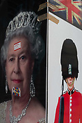 A detail of images of Queen Elizabeth II and a guardsman, on 3rd February 2017, in London, England.