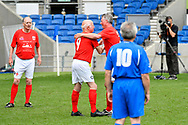 Tommy Charlton of England over 60's comes on to the pitch as a substitute as he makes his England debut during the world's first Walking Football International match between England and Italy at the American Express Community Stadium, Brighton and Hove, England on 13 May 2018. Picture by Graham Hunt.