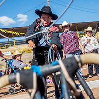 090513       Cable Hoover<br /> <br /> Alfred Moses Jr. slings his lasso at a roping dummy during the exceptional rodeo at the Navajo Nation Fair in Window Rock Thursday.
