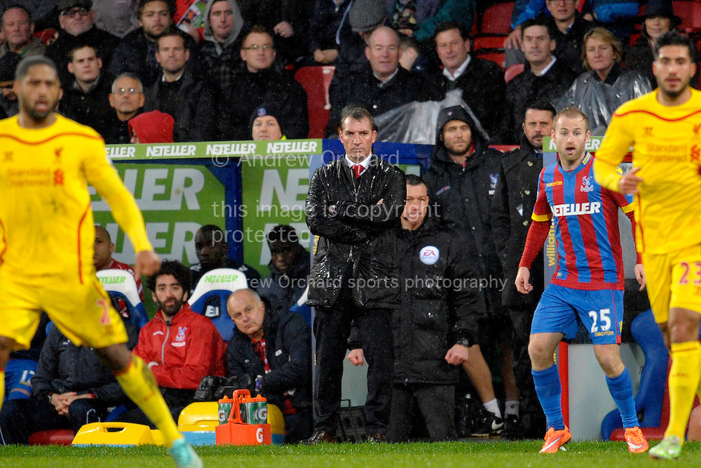 Liverpool Manager Brendan Rodgers looking dejected as he watches on from the touchline during the second half.. Barclays Premier league match, Crystal Palace v Liverpool at Selhurst Park in London on Sunday 23rd November 2014.<br /> pic by John Patrick Fletcher, Andrew Orchard sports photography.