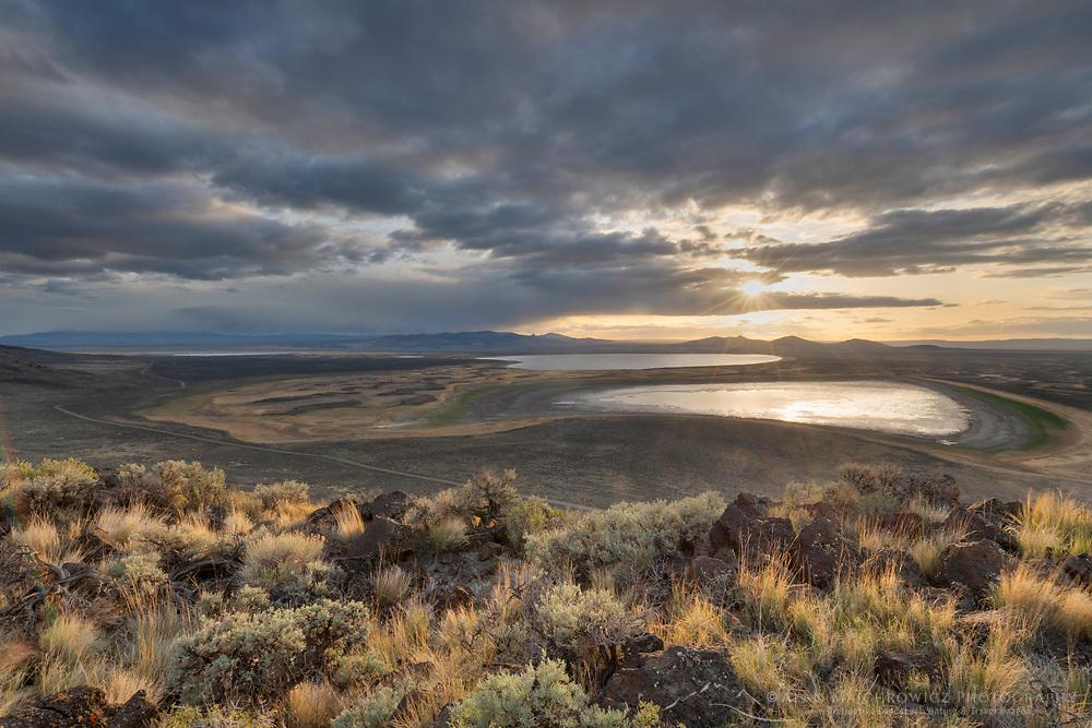 Sunset over Warner Lakes Wetlands, seen from Hart Mountain National Antelope Refuge, Oregon