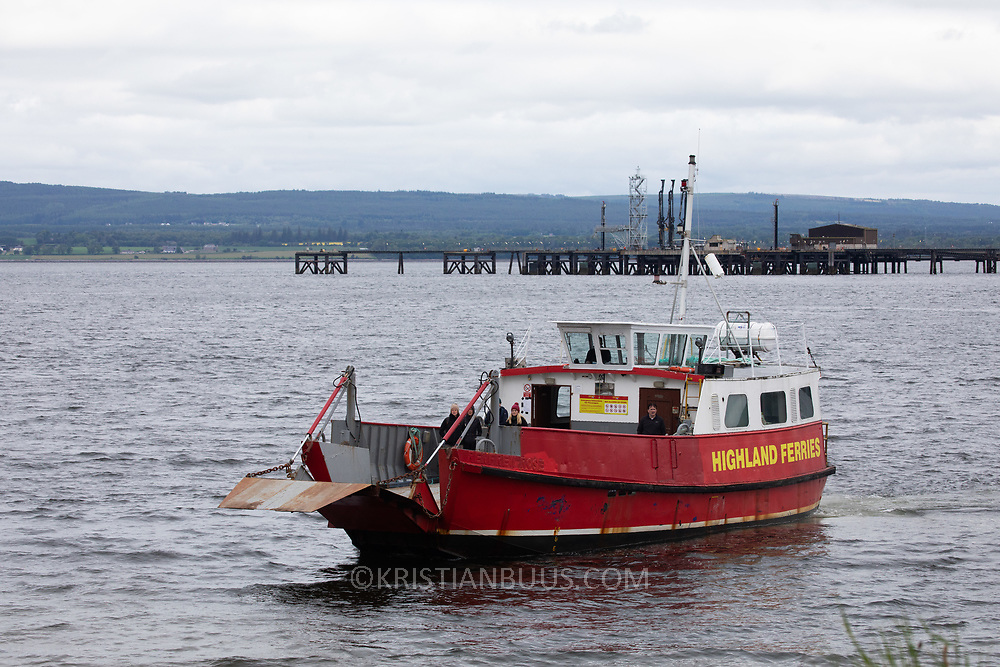A Highland Ferry crosses the Cromarty Firth, June 10th 2019, Cromarty, Scotland, United Kingdom. The two cars and passengers and runs regurlarly between Cromarty on the Black Isle and mainland Scotland.