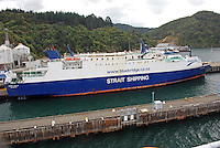 Monte Stello, ferry, Strait Shipping, bluebridge.co.nz, pictured Picton Ferry Terminal, South Island, New Zealand. 20104135379..Copyright Image from Victor Patterson, 54 Dorchester Park, Belfast, United Kingdom, UK. Tel: +44 28 90661296. Email: victorpatterson@me.com; Back-up: victorpatterson@gmail.com..For my Terms and Conditions of Use go to www.victorpatterson.com and click on the appropriate tab.