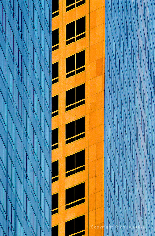 Compressed view of office building windows at sunset, Los Angeles, California