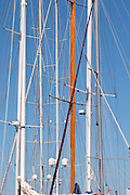 Masts of sailing yachts in the harbour. Luka Gruz harbour. Dubrovnik, new city. Dalmatian Coast, Croatia, Europe.