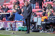 Charlton Athletic manager Lee Bowyer looking at the pitch during the EFL Sky Bet League 1 match between Charlton Athletic and Rochdale at The Valley, London, England on 4 May 2019.