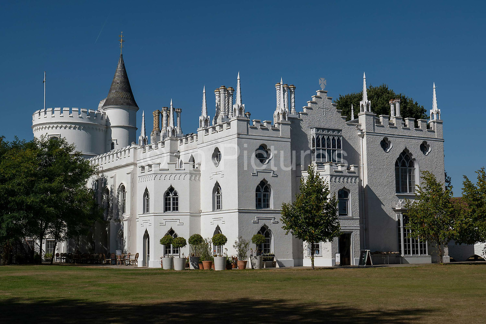 Strawberry Hill House in Twickenham on the 17th September 2019 in London in the United Kingdom. Strawberry Hill House is an example of British Georgian Gothic Revival architecture.