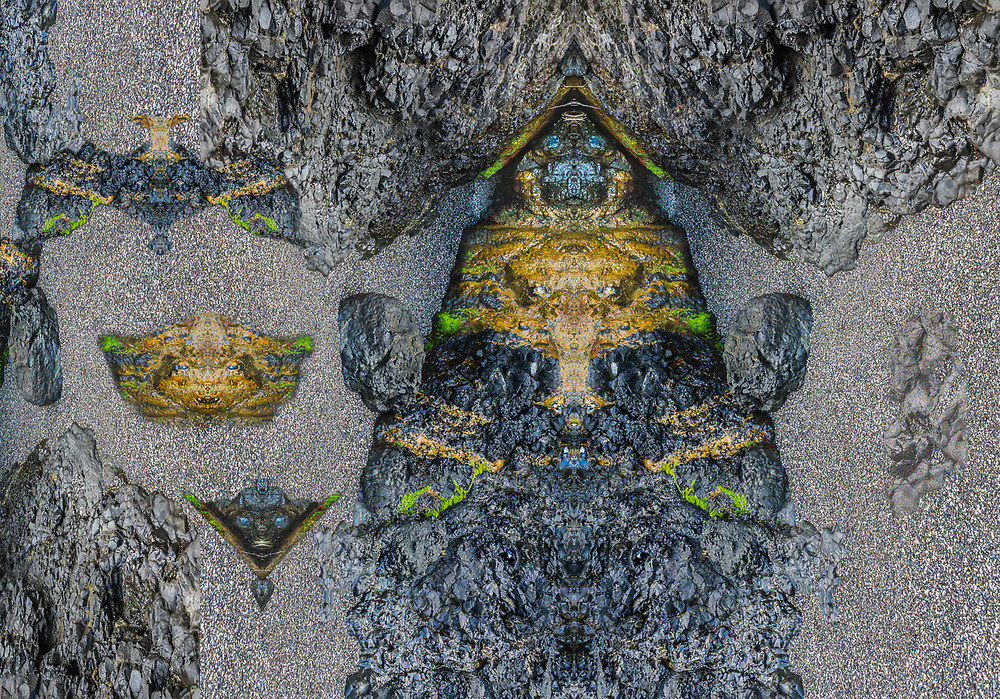 """Shaman Mask"", derivative image from a photo of a coastal headwall design, Tongue Point Marine Sanctuary, Olympic Peninsula, WA. USA"