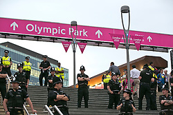 © Licensed to London News Pictures.27/07/2012 LONDON UK. Police outside Westfield Shopping Centre. during the opening Ceremony of the London 2012 Olympic Games. Photo credit : Andrew Baker/LNP