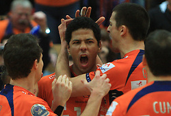 Thomas Delano and Mitja Gasparini  at finals of Slovenian volleyball cup between OK ACH Volley and OK Salonit Anhovo Kanal, on December 27, 2008, in Nova Gorica, Slovenia. ACH Volley won 3:2.(Photo by Vid Ponikvar / SportIda).