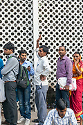 People queueing outside of the All India International Medical Sciences (AIIMS) Hospital, New Delhi, India
