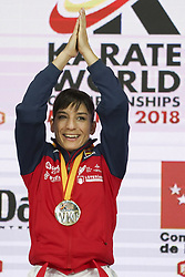 November 10, 2018 - Madrid, Spain - Spain's Sandra Sanchez Jaime celebrates with her gold medal on the podium after winning the Kata individual female final during the 24th Karate World Championships at the WiZink center in Madrid on November 10, 2018  (Credit Image: © Oscar Gonzalez/NurPhoto via ZUMA Press)