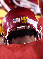 1 September 2007: Helmet logo dedicated to former PK player #19 Mario Danelo. All players wearing this on their helmets this year.  USC Trojans college football team defeated the Idaho Vandals 38-10 at the Los Angeles Memorial Coliseum in CA.  NCAA Pac-10 #1 ranked team first game of the season.