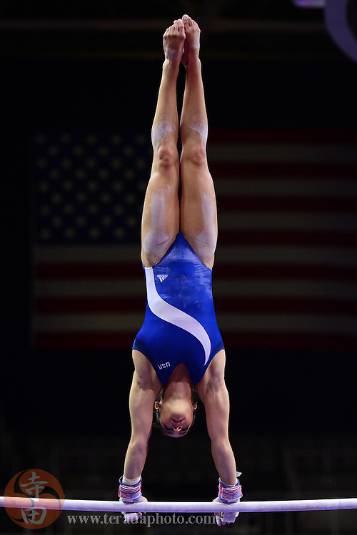 June 27, 2012; San Jose, CA, USA; Aly Raisman practices on the uneven bars during media day of the 2012 USA Gymnastics Olympic Team Trials at HP Pavilion.