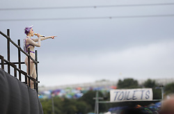 Katy Perry performing on the Pyramid Stage at the Glastonbury Festival, at Worthy Farm in Somerset.