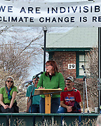 Bar Harbor, USA. 29 April, 2017. Julia Gray, Director of Collections and Interpretation at the Abbe Museum, addresses the crowd at the Downeast Climate March.