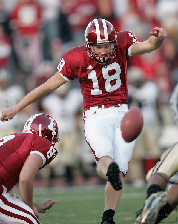 17 November 2007: Indiana kicker Austin Starr (18) as the Indiana Hoosiers played the Purude Boilermakers in a college football game in Bloomington, Ind. Indiana won 27-24.