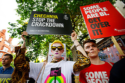 © Licensed to London News Pictures. 02/06/2017. London, UK. LGBT activists protest outside the Russian Embassy in London, calling on the Russian authorities to fully investigate reports of a crackdown and torture on LGBTI people in Chechnya. Photo credit: Tolga Akmen/LNP