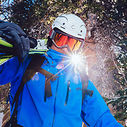 Tigger Knecht hikes to ski cowboy powder in the backcountry of Jackson, Wyoming.