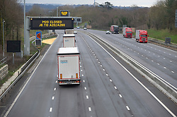 © Licensed to London News Pictures 26/12/2020.        Leybourne, UK. A quiet and empty Boxing Day M20 motorway at junction four in Kent this morning as people remain indoors on tier four lockdown. Photo credit:Grant Falvey/LNP