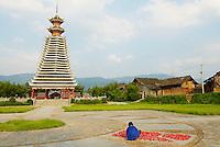 Chine. Province du Guizhou. Tour du Tambour Dong a Rongjiang. // China. Guizhou province. Drum Tower at Rongjiang.