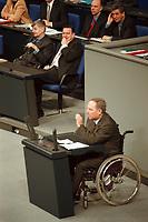 20 JAN 2000, BERLIN/GERMANY:<br /> Joschka Fischer, B90/Grüne, Bundesaußenminister, und Gerhard Schröder, SPD, Bundeskanzler, lauschen der Rede von Wolfgang Schäuble, CDU Vorsitzender und CDU/CSU Fraktionsvorsitzender, Debatte zur CDU Spendenaffäre, Plenum, Deutscher Bundestag<br /> Joschka Fischer and Gerhard Schroeder are listening to the speech of Wolfgang Schaeuble, Chairman of the Christian Democratic Union and the CDU/CSU parliamentary group, debatte about the affair of secret donations to the CDU<br /> IMAGE: 20000120-01/02-37