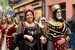 April 14, 2018 - GavÃ, Catalonia, Spain - Participants seen during the parade of Moors and Christians during the festivities of Las Fallas in the city of Gava Barcelona..In the city of Gavà (Barcelona) the members of ''The House of Valencia'' organize the parties of ''Las Fallas'' and the parade of Moors and Christians for citizens of Valencian origin as if their hometown to remember their city. (Credit Image: © Ramon Costa/SOPA Images via ZUMA Wire)
