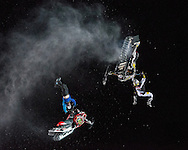 Joe Parsons & Colton Moore competing in Snowmobile Speed & Style at the Winter X Games in Aspen, Colorado.