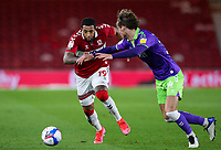Middlesbrough's Nathaniel Mendez-Laing battles with Bristol City's Ryley Towler<br /> <br /> Photographer Alex Dodd/CameraSport<br /> <br /> The EFL Sky Bet Championship - Middlesbrough v Bristol City - Tuesday 23rd February 2021 - Riverside Stadium - Middlesbrough<br /> <br /> World Copyright © 2021 CameraSport. All rights reserved. 43 Linden Ave. Countesthorpe. Leicester. England. LE8 5PG - Tel: +44 (0) 116 277 4147 - admin@camerasport.com - www.camerasport.com